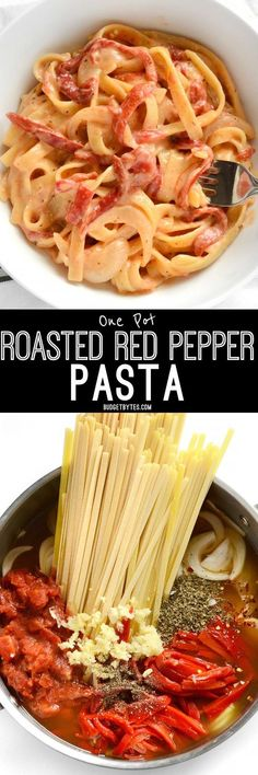 This smoky, sweet, and creamy One Pot Roasted Red Pepper Pasta cooks in one single pot and can be on the table in about 30 minutes. #quickrecipe #pasta #easyrecipes #easydinner #easyrecipe