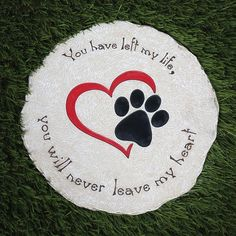 Round Pet Memorial Garden Stone And Wall Hanging - Indoor/outdoor Heart And Paw . - Round Pet Memorial Garden Stone And Wall Hanging – Indoor/outdoor Heart And Paw Print Plaque For - Dog Memorial Stone, Memorial Garden Stones, Cat Memorial, Memorial Ideas, Memorial Garden Plaques, Indoor Outdoor, Outdoor Ideas, Dog Shadow Box, Pet Memorial Gifts