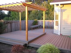 My First Deck (All D.), This was my first attempt at building a deck I liked the layout of the existing concrete patio but it was a smidge small in size and had no real shade in the evening. Diy Deck, Diy Patio, Outside House Colors, Trek Deck, Vinyl Wood Flooring, Raised Patio, Patio Steps, Built In Bbq, Lawn And Landscape