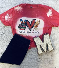 Peace Love Elote Adult Bleached Tee - M / Heather Red