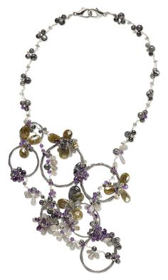Bib-Style Necklace with Amethyst Gemstone Beads, Labradorite Gemstone Beads and Wirework