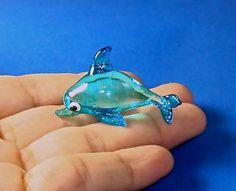 Dolphin Hand Blown Glass Figurine - Blue | eBay