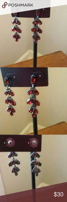 Deep Red Dangle Earrings Beautiful deep red earrings for day or night. Great to wear for the holiday season. Fashionable and affordable. New with tag. The Limited Jewelry Earrings