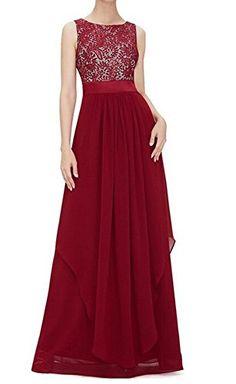 TTI Womens Sleeveless Round Neck Lace Chiffon Dress (X-Large, Wine) - http://best-women-shop.xyz/2016/06/30/tti-womens-sleeveless-round-neck-lace-chiffon-dress-x-large-wine/