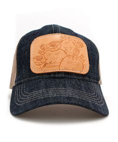 Tooled Cactus Denim Ball Cap at Maverick Western Wear
