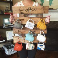 Coffee Mug Rack - Reclaimed Wood look Coffee Cup Organizer - Repurposed Wooden Teacup Hooks - Kitchen Wall Decor - Mug Storage