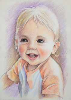 Countdown to Christmas 4 by Ellymae on Etsy Colored Pencil Portrait, Color Pencil Art, Pencil Art Drawings, Art Drawings Sketches, Watercolor Portraits, Watercolor Paintings, Portrait Sketches, Portrait Draw, Children Sketch
