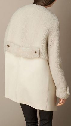 Shearling and Wool Melton Coat - Street Fashion