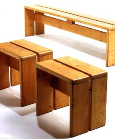 Stools and Bench from Les Arcs, France. 1968