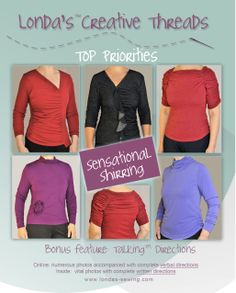 Sensational Shirring Talking Pattern Knit Top sewing pattern instant download how-to for gathering, elastic thread, turtleneck shirred. https://www.etsy.com/listing/259043883/sensational-shirring-talking-pattern?ref=shop_home_active_5