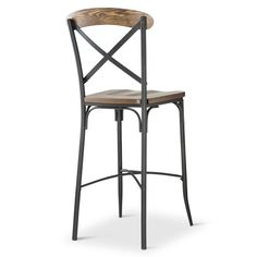 """Make a great space for entertaining guests with the Bralton 29"""" Barstool from The Industrial Shop. This vintage-inspired industrial stool highlights our unique take on popular X-back stools. Resting on a solid steel frame, its seat has a strong ash veneer that's weathered and scraped to achieve an antique finish. Place several of these barstools at your home bar to add a masculine feel."""