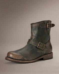 Mens Leather Boots - Wayde Engineer Inside Zip Boots, dark brown | FRYE Boots