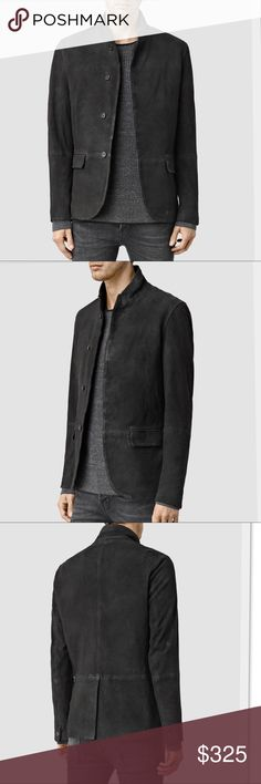 All Saints Aspen Leather Blazer in Black Our range of leather blazers deconstruct the unique statement of heritage style. Cut from a soft goat leather that has been buffed to create a more textured finish. Incorporates the detailing of a tailored blazer like a back hem split and flap pockets, combined with more contemporary trends like the stand collar and lapels.100% goat leather. Lining: 55% viscose, 45% cotton. Sleeve lining: 100% polyester. Specialist dry clean only. All Saints Jackets…