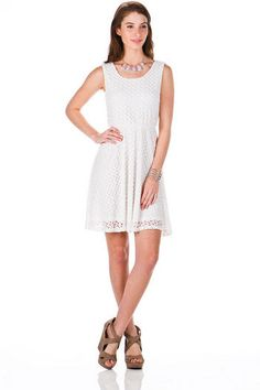 Sherbet Scoop Dress - The crochet overlay adds a dainty touch to this sweet A-line dress. Grad Dresses, Dresses For Work, My Girl, White Dress, Sequins, Fashion Outfits, Francesca's Collections, Clothing Styles, My Style