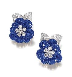 PAIR OF SAPPHIRE AND DIAMOND EARCLIPS, 'PAVOT', VAN CLEEF & ARPELS, 1970S