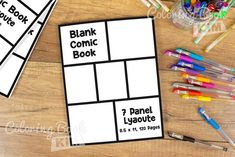 A blank comic book template to create great stories for kids and adults. Simple symmetrical panels for easy drawing. This empty comic bookcase features one repeating layout of 7 panels. 120 pages of the same template is the perfect layout for aspiring artists. One of the most popular and liked templates by professional comic drawing artists that can be found in every comic book. Blank Comic Book, Comic Page, Comic Books, Stories For Kids, Great Stories, Comic Book Template, Comic Drawing, Drawing Artist, Draw Your