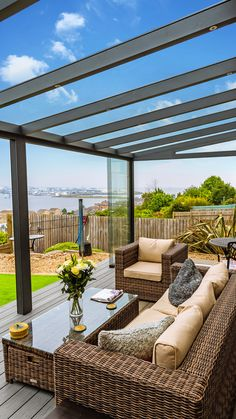 Installation service available. Contact us to request a quote for your Panorama glass room. Pergola With Roof, Outdoor Pergola, Outdoor Rooms, Outdoor Living, Gazebo, Contemporary Garden Rooms, House Outside Design, Garden Room Extensions, Backyard Patio Designs