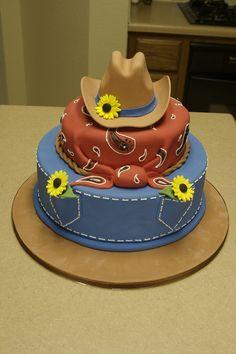 Western Cake Birthday cake for a relative. dummy on the bottom, Cake Mix Doctor chocolate cake with dark chocolate. Country Birthday Cakes, Cowboy Birthday Cakes, Cowgirl Cakes, Cake Birthday, Western Wedding Cakes, Western Cakes, Western Theme, Cowgirl Wedding, Horse Wedding