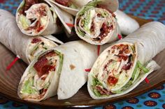 BLT Wraps - Great for hot days when you don't want to use the oven. I've also added thinly-sliced turkey which, I suppose, turns them into Club Sandwich Wraps. I Love Food, Good Food, Yummy Food, Tasty, Snacks Für Party, Wrap Recipes, Blt Recipes, Easy Recipes, Football Food