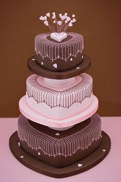 Strawberry Pink & Chocolate Hearts Wedding Cake, by Sarah Louise Cakes