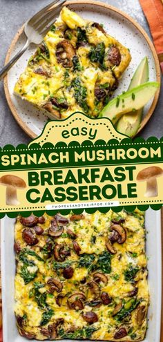 Spinach Mushroom Breakfast Casserole is one of the best casserole recipes to make for the entire fam! This vegetarian recipe is hearty, filling, and full of flavor! Pin this casserole recipe for breakfast! Vegetarian Breakfast Casserole, Delicious Breakfast Recipes, Spinach Stuffed Mushrooms, Stuffed Peppers, Clean Eating Breakfast, Breakfast Ideas, Best Casseroles, Casserole Recipes, Vegetarian Recipes