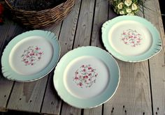 Mint Green Serving Plates  Set of 3  Roses by MyFrenchBricABrac
