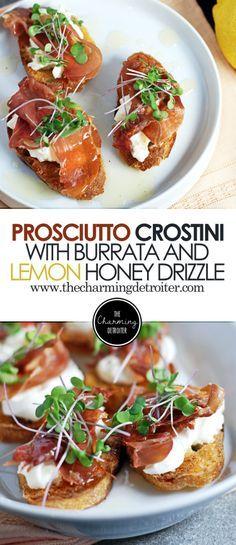 Prosciutto Crostini: These quick crostini feature crispy prosciutto, creamy burrata, and a simple lemon honey drizzle sauce. Prosciutto Crostini: These quick crostini feature crispy prosciutto, creamy burrata, and a simple lemon honey drizzle sauce. Fingers Food, Cooking Recipes, Healthy Recipes, Vegaterian Recipes, Jalapeno Recipes, Chard Recipes, Tapas Recipes, Rhubarb Recipes, Appetisers