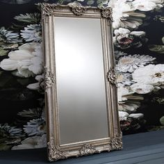 Ornate Antique Silver Leaner Mirror - mirrors
