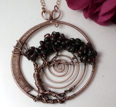 Tree of Life Pendant Necklace, Bonsai Circle, Handmade Wire Wrapped Jewelry