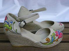 Zapatillas pintadas a mano Diseño Greca Floral Color