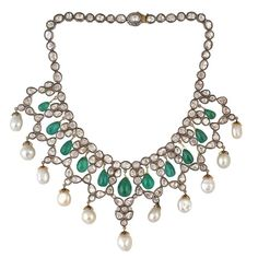 Rosecut Pearl Emerald Diamond Necklace | From a unique collection of vintage choker necklaces at https://www.1stdibs.com/jewelry/necklaces/choker-necklaces/