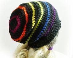 Rainbow Slouchy Beanie, Custom size, Hand Crochet Charcoal Gray happy slouch hat, Dark Rainbow, Mens Womens Teen Gay pride LGBT Grey