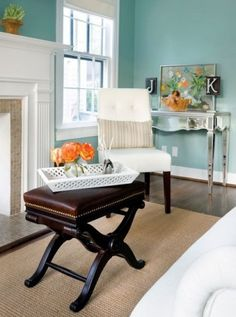 Benjamin Moore Wyeth Blue = perfect aqua    too dark/saturated? Palladian is really perfect. One notch down on the paint chip card.  {paint color for master room}