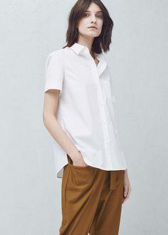 Camisa algodón bolsillo - Camisas de Mujer | MANGO España