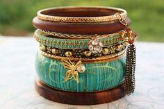 Gypsy Bohemian Turquoise Bangle Bracelet Stack