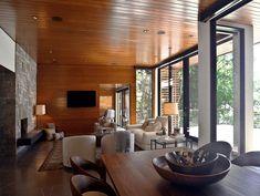 Timber and stone lake house