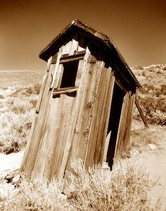 Old outhouse on the outskirts of the ghost town of Bodie California.