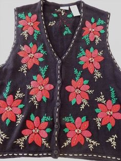 19.33$  Buy now - http://viozt.justgood.pw/vig/item.php?t=2o2s4z721467 - Christmas Womens XL Sweater Vest Pretty Poinsettias Beads Jewels Gold Trim