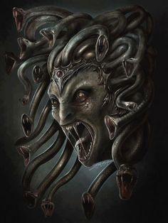 Medusa - my first horror movie - The Gorgon.scared me shitless at 12 yrs old Horror Art, Fantasy, Fantasy Artwork, Greek And Roman Mythology, Fantasy Art, Mythical, Dark Art, Mythological Creatures, Medusa Art