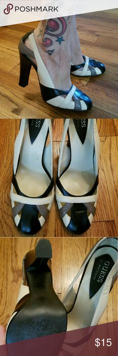Tri-Color Uber High Guess Pumps Sexy Secretary! Gorgeous like new (worn once) Guess by Marciano super high heels. Black, taupe and brown leather. Just gorgeous. Guess by Marciano Shoes Heels