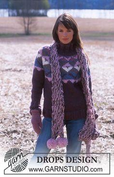 DROPS 91-1 - DROPS Sweater with Yoke in Eskimo. Scarf in Eskimo - Free pattern by DROPS Design