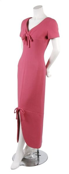 A Christian Dior pink wool crepe dress, 1963.  Too bad its wool.....itchy.....