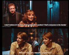 Fred and George Weasley Ron makes prefect Harry Potter