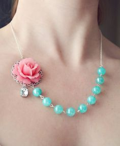 Bridesmaid Necklace  Wedding Jewelry Pink and by EternalEdenBridal, $40.00