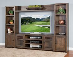 Give your home theater the presentation it deserves with the Sunny Designs Homestead Entertainment Center . This massive entertainment center features. Wall Unit Designs, Living Room Tv Unit Designs, Tv Cabinet Design, Tv Wall Design, Tv Showcase Design, Wall Unit Decor, Home Entertainment, Entertainment Centers, Tv Console Decorating