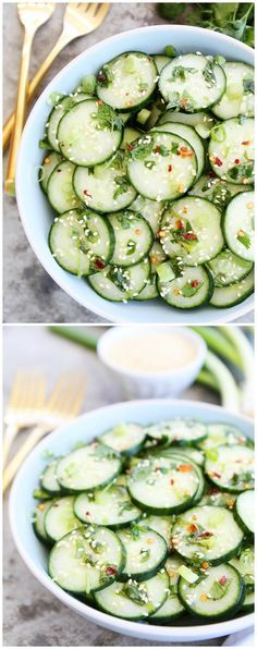 Asian Cucumber Salad Recipe on twopeasandtheirpo. This cool and crisp cucumber salad is easy to make and goes great with any meal. (Projects To Try Easy) Vegetable Recipes, Vegetarian Recipes, Cooking Recipes, Healthy Recipes, Fast Recipes, Healthy Salads, Healthy Eating, Chefs, Asian Cucumber Salad