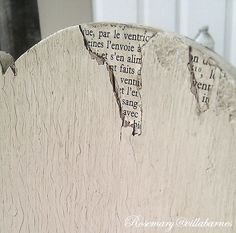 - use old book pages to fill in missing veneer! Could use fabric, wrapping paper, whatever!Brilliant - use old book pages to fill in missing veneer! Could use fabric, wrapping paper, whatever! Furniture Repair, Old Furniture, Paint Furniture, Repurposed Furniture, Furniture Projects, Refinished Furniture, Chair Makeover, Furniture Makeover, Decoupage
