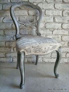 Restyled Vintage: French Script Chair - Beautiful effect layering techniques in French Linen and Old White Chalk Paint® Decorative Paint by Annie Sloan by Kristy333