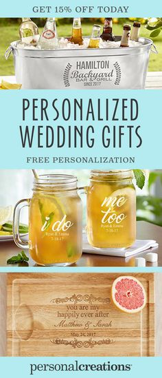 Take an already unique gift and turn it into a one-of-a-kind keepsake. Visit Personal Creations and discover the go-to site for custom wedding gifts. Get 15% off your order today.