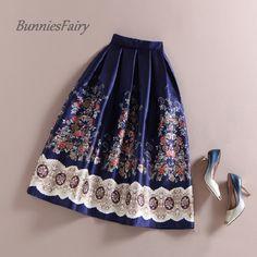 BunniesFairy 50s Vintage Hepburn Elegant Women Ethnic Boho Retro Flower Floral Print High Waist Midi Skirt Navy Blue Plus Size-in Skirts from Women's Clothing & Accessories on Aliexpress.com | Alibaba Group